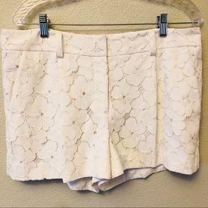 Diane Von Furstenburg white flower lace shorts